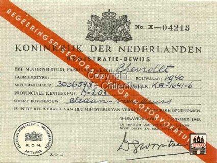 N-203 Registratiebewijs, 1945 (collectie ETAG)