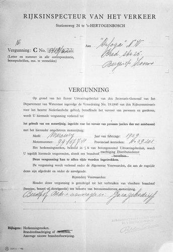 Vergunning voor personenvervoer, 1940 (collectie West-Brabants Archief)