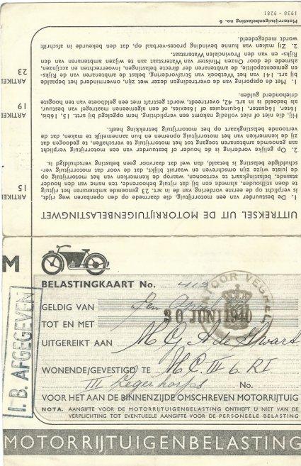 Belastingkaart (collectie H. de Swart)