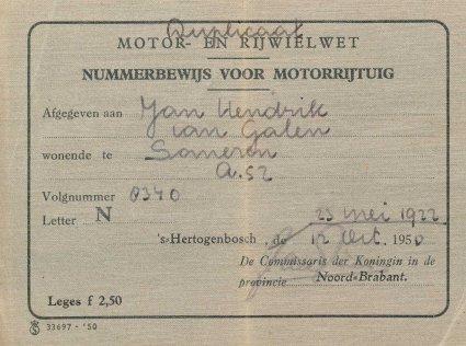 Duplicaat van het nummerbewijs, 1950 (collectie RHCe)