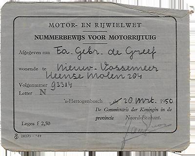 Het nummerbewijs van N-93314 (Collectie C.M. de Greef)