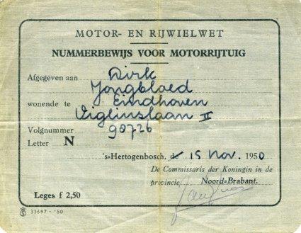 Nummerbewijs Dirk Jongbloed
