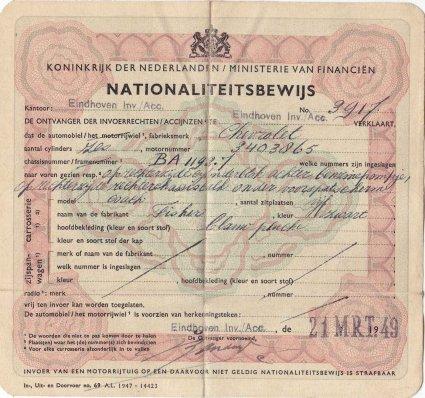 Nationaliteitsbewijs voor Chevrolet (collectie C. Vogels)