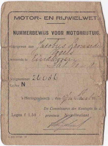 Nummerbewijs (collectie C. Vogels)