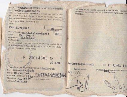 Rijvergunning voor Chevrolet (collectie C. Vogels)