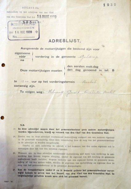 N-4795 Aanwijzing voor vordering, 1939
