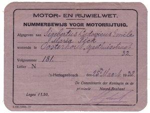 Nummerbewijs van S.L.E.M. Fick, Oosterhout 1932.