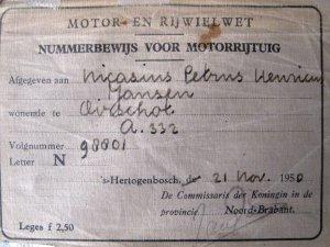 Nummerbewijs, 1950.