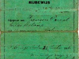 Rijbewijs van Juls Leloup (1906)