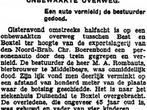 Krantenbericht ongeval M. Rombauts (Collectie K. van Poppel)