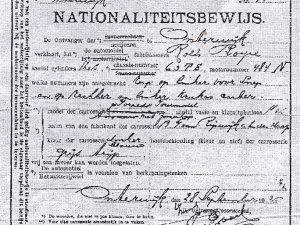 Nationaliteitsbewijs van de Rolls Royce (Collectie H. Compter)