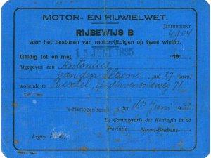 Rijbewijs van Toon van den Elzen, 1933