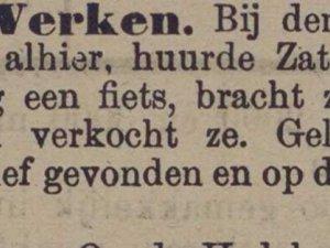 Krantenbericht van gestolen fiets (1909)