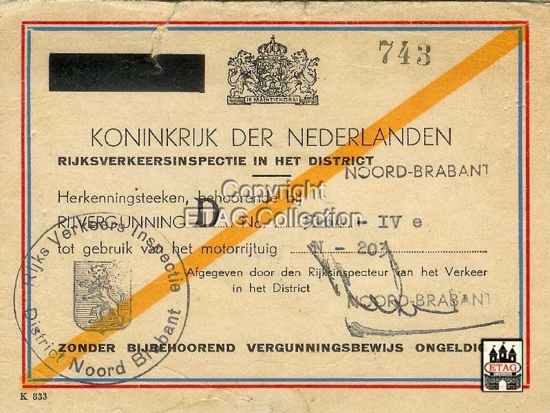 Rijvergunning voor N-203 (collectie ETAG)