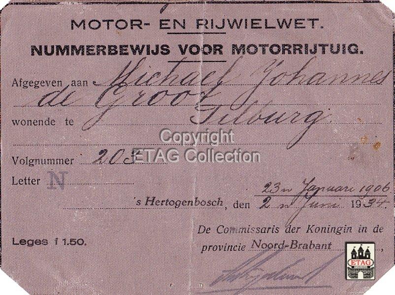 N-203 Nummerbewijs N-203 (collectie ETAG)