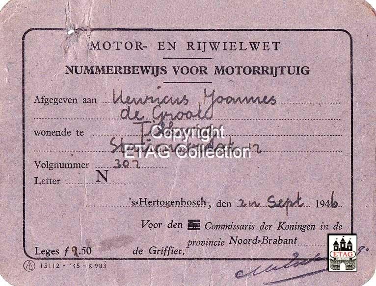 N-302 Nummerbewijs, 1946 (collectie ETAG)
