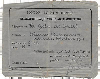 Het nummerbewijs van de Fa. De Greef uit Nieuw-Vossemeer (Collectie C.M. de Greef)