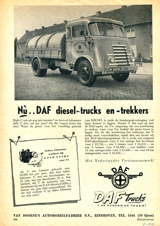 DAF (bron: Bedrijfsvervoer, september 1950)