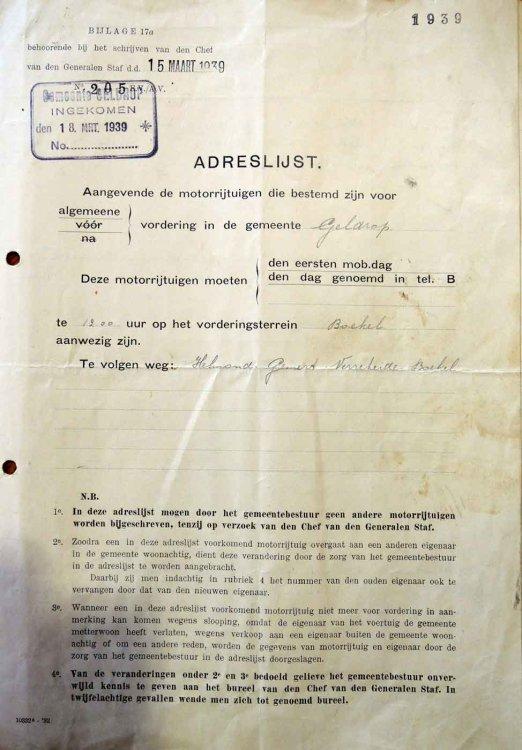 N-48381 Aanwijzing voor vordering, 1939